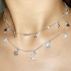 silver stars and moon necklace